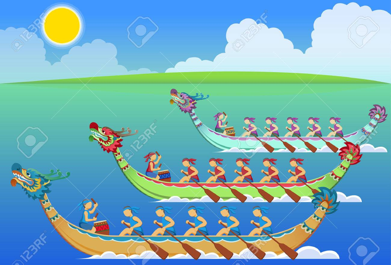 Dragon Boat Racing Clipart.