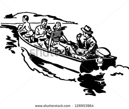 Boat Ride Retro Clip Art Illustration Stock Vector 128953964.