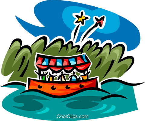 boat ride and fireworks Royalty Free Vector Clip Art illustration.
