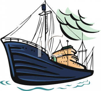 Clip Art Illustration of a Cargo Ship On the Ocean.