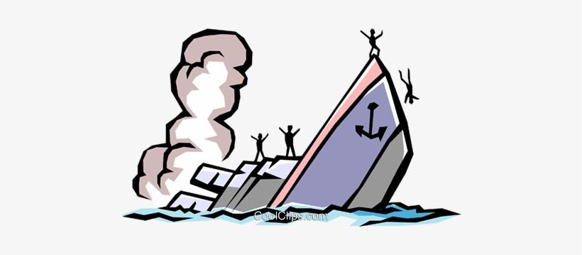 Sinking Ship Royalty Free Vector Clip Art Illustration.