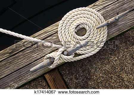 Picture of Beautiful Swirled Curled Rope Boat Bow Line Nautical.