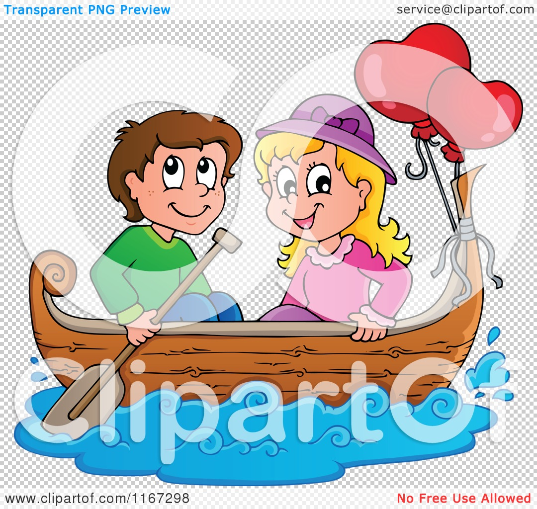 Cartoon of a Happy Couple with Valentine Balloons in a Boat.