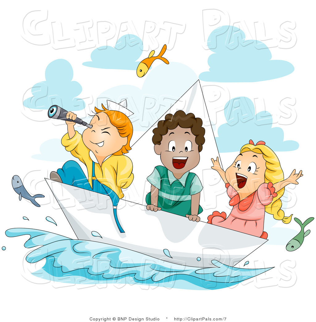 Kids on the boat clipart.