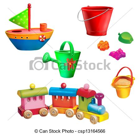 Stock Illustration of Children christmas gifts. Toys. Toy boat.