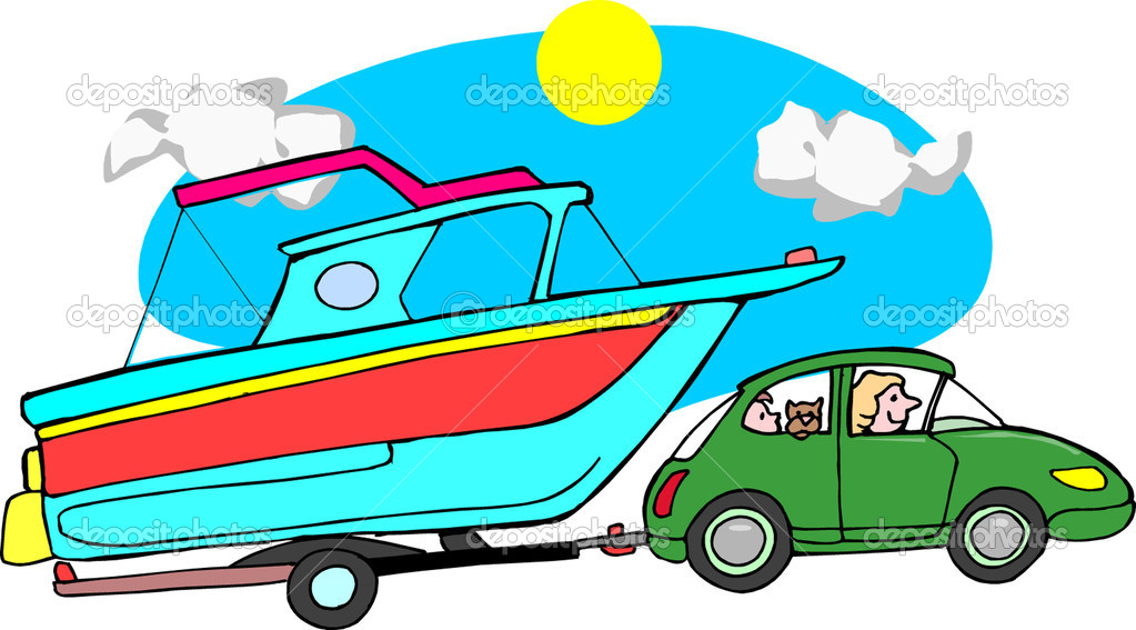 Clipart car with boat.