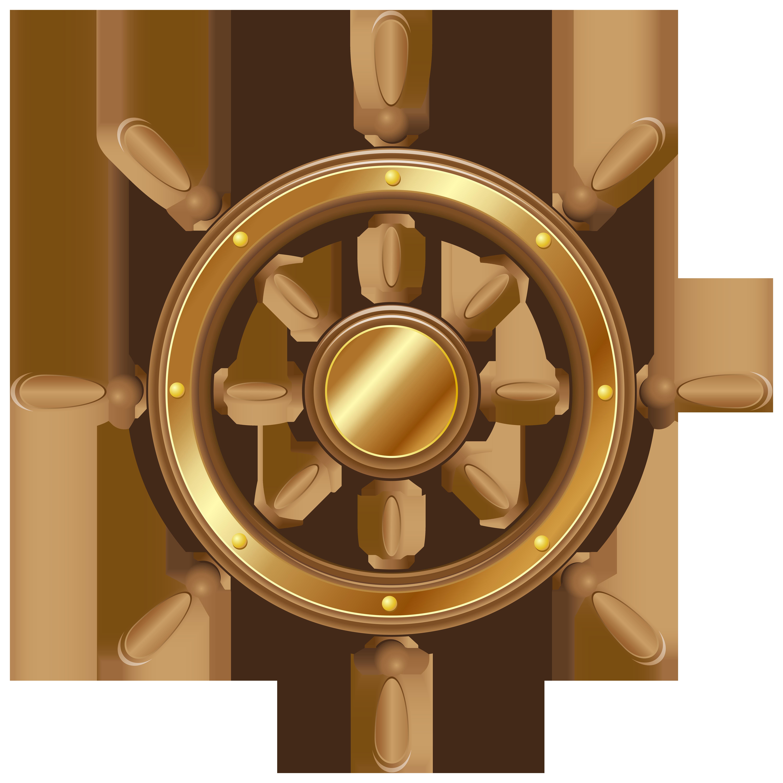 Boat Wheel Transparent PNG Clip Art Image.