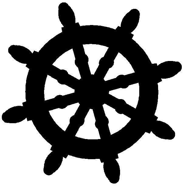 free silhouette ships wheel clipart.