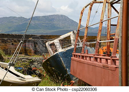 Stock Photography of Abandoned Boat in Boatyard on Bantry Bay.