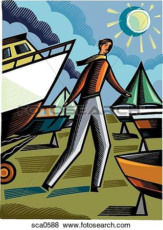 Stock Illustration of A man pulling a boat into a boat yard.