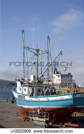 Stock Photograph of Boat yard, Harbour Grace, Newfoundland, Canada.
