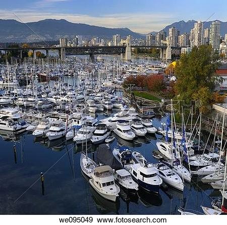 Stock Photograph of Boats moored at Granville Island Boat Yard and.