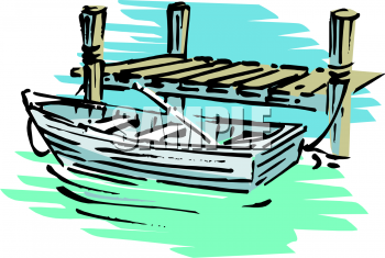 Clip Art Sailboat With Dock Clipart #1.
