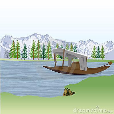 Shikara Boat Kashmir Stock Illustrations.