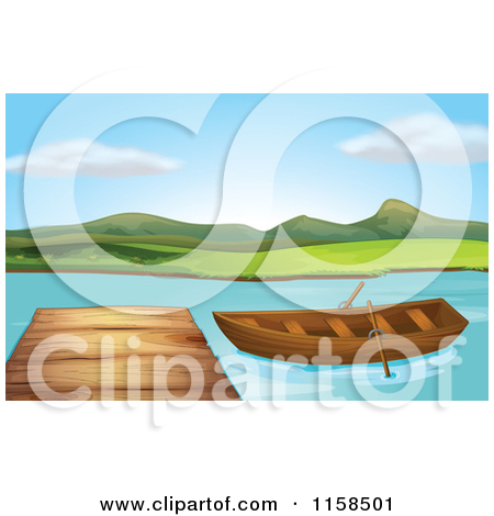 Clipart of a Scenic Landscape of a Boat by a Lake Dock.