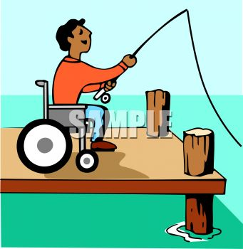 Royalty Free Clipart Image: Handicapped Guy Fishing From His.