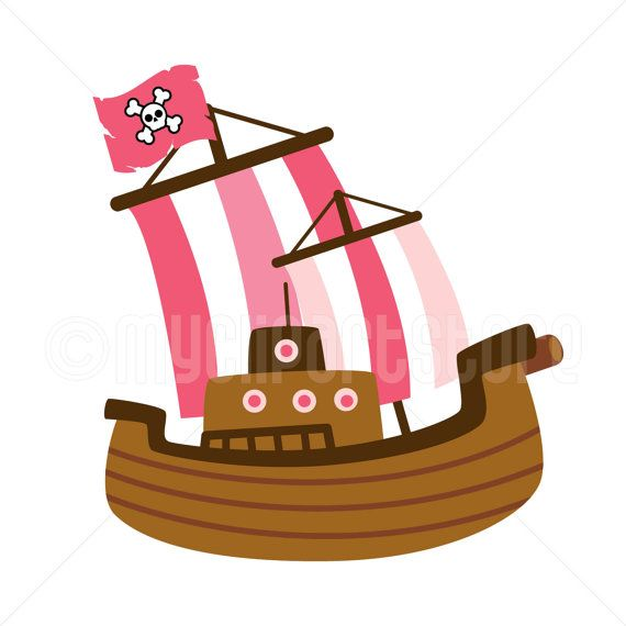 Clipart Pink Pirate Ship / Boat / Sailing by MyClipArtStore.