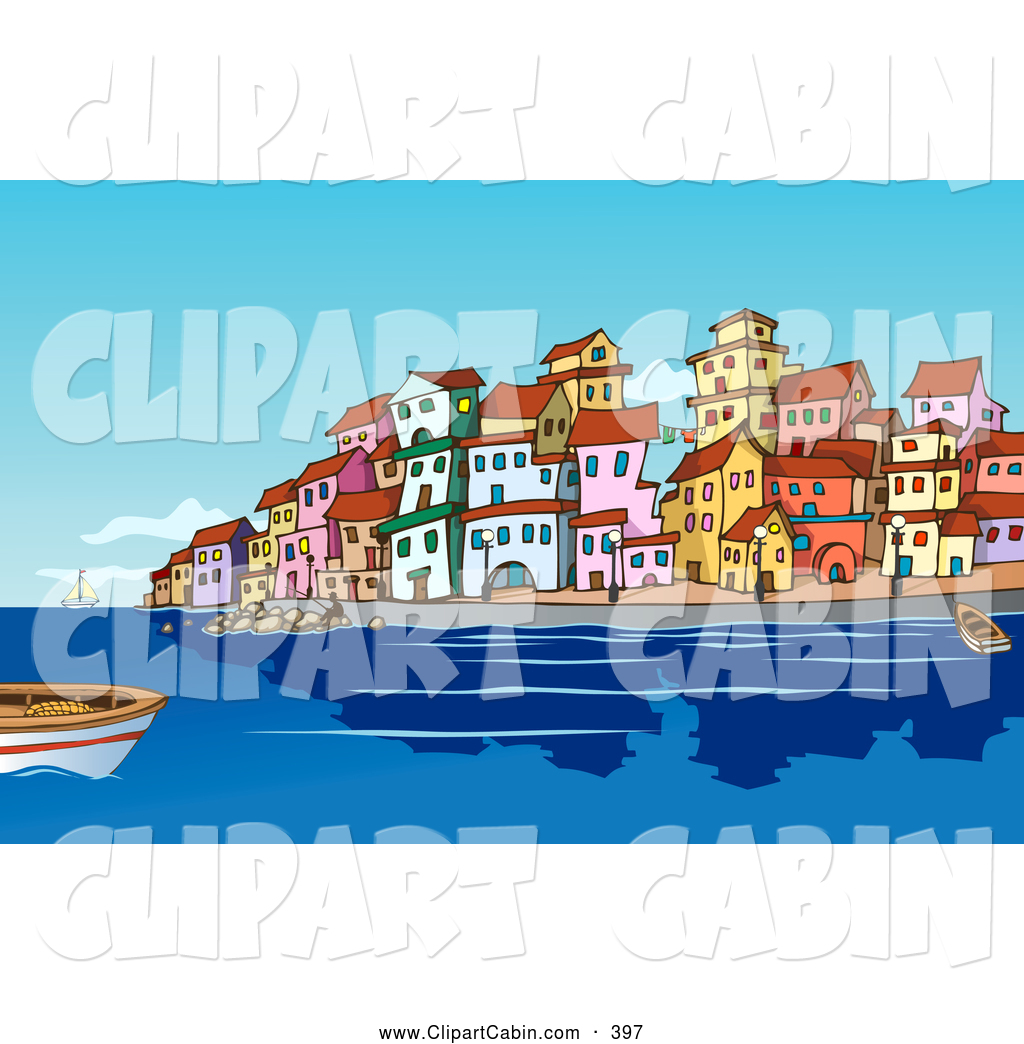 Vector Clip Art of Boats and People in the Harbor near a.