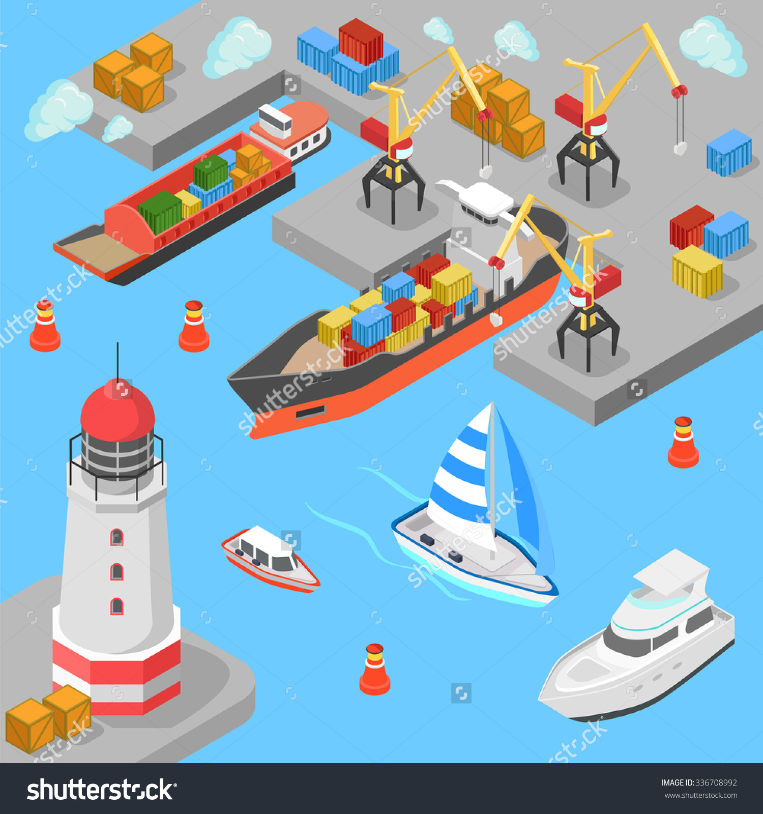 Flat 3d Isometric Nautical Transport Cargo Stock Vector 336708992.