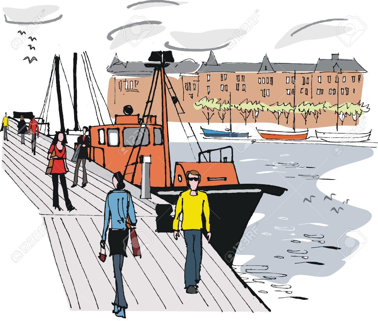 Vector Illustration Of Stockholm Boat Harbor, Sweden Royalty Free.