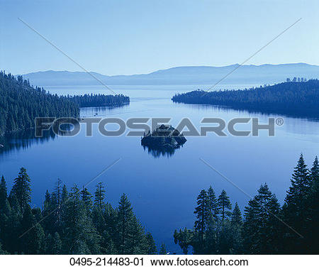 Stock Photography of California, Tahoe, Lake Tahoe, Emerald Bay.