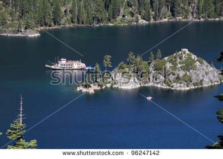 Fannette Island In Emerald Bay, Lake Tahoe, California Stock Photo.
