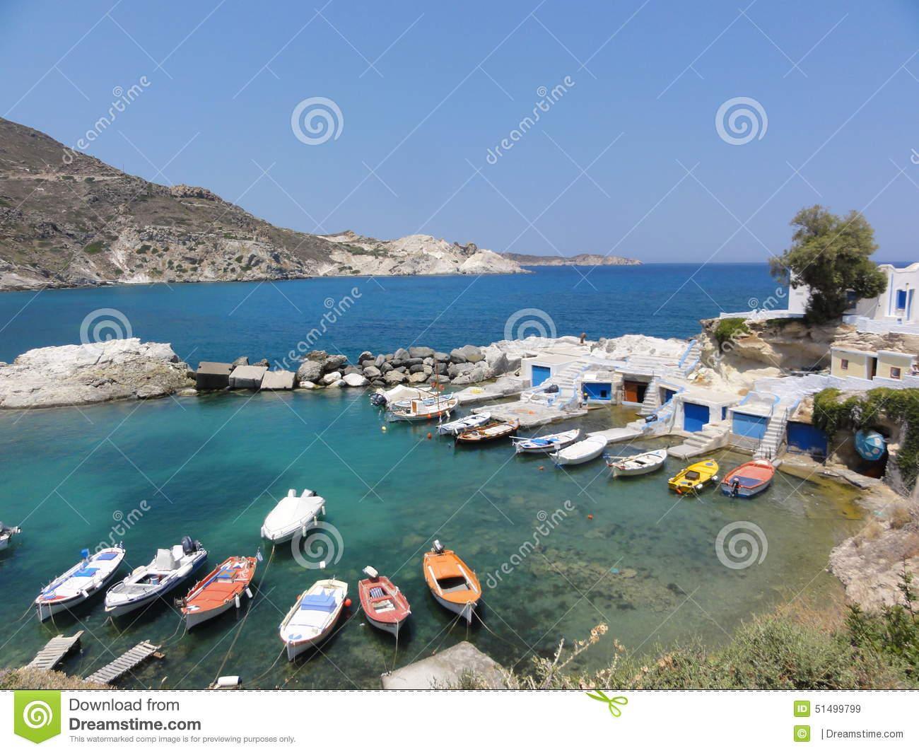 GREECE MILOS ISLAND FISHERMAN VILLAGE BOATS SUMMER IN EMERALD.