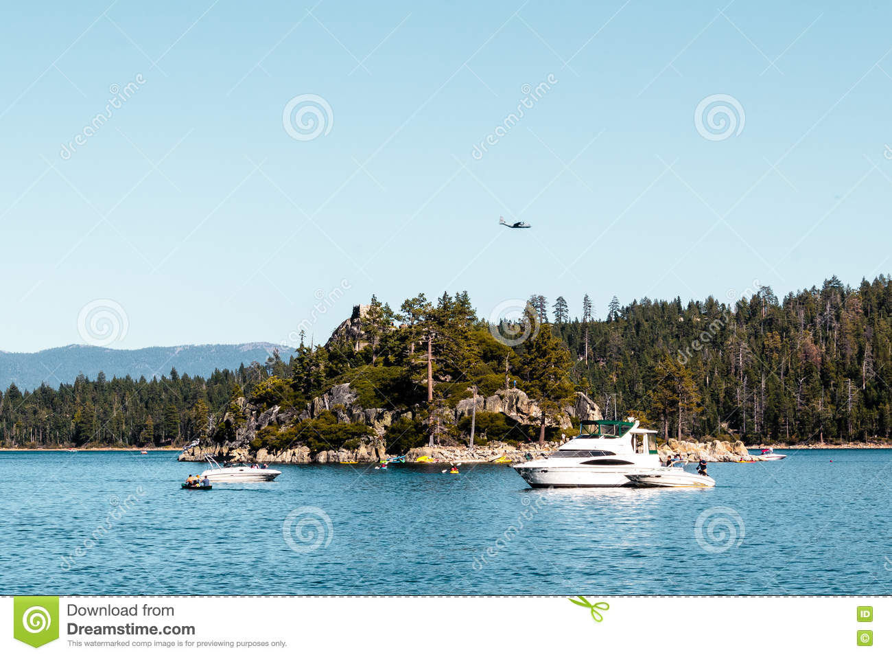 Haunted Island At Emerald Bay And Lake Tahoe Stock Photo.