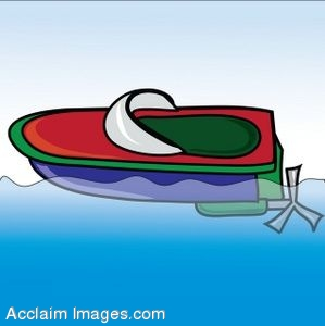 Clip Art of a Childs Toy Boat Floating On Water.