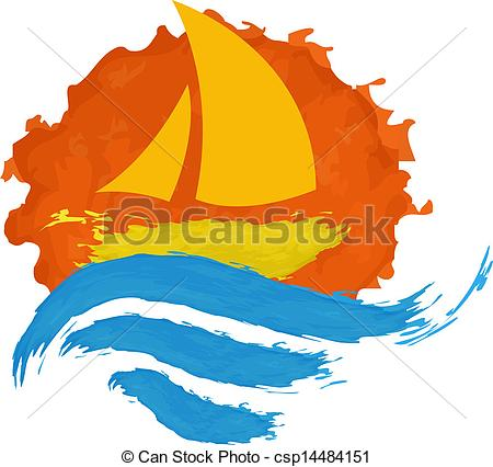 Clipart Vector of Sailing boat on the water, vector icon.