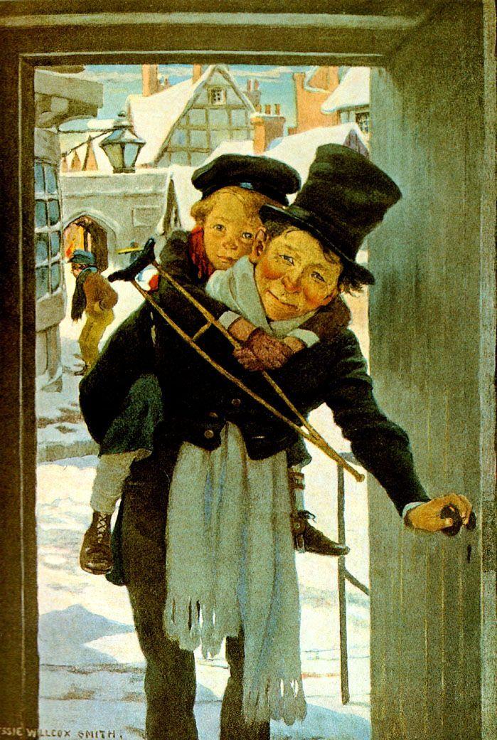 Tiny Tim and Bob Cratchit on Christmas Day.