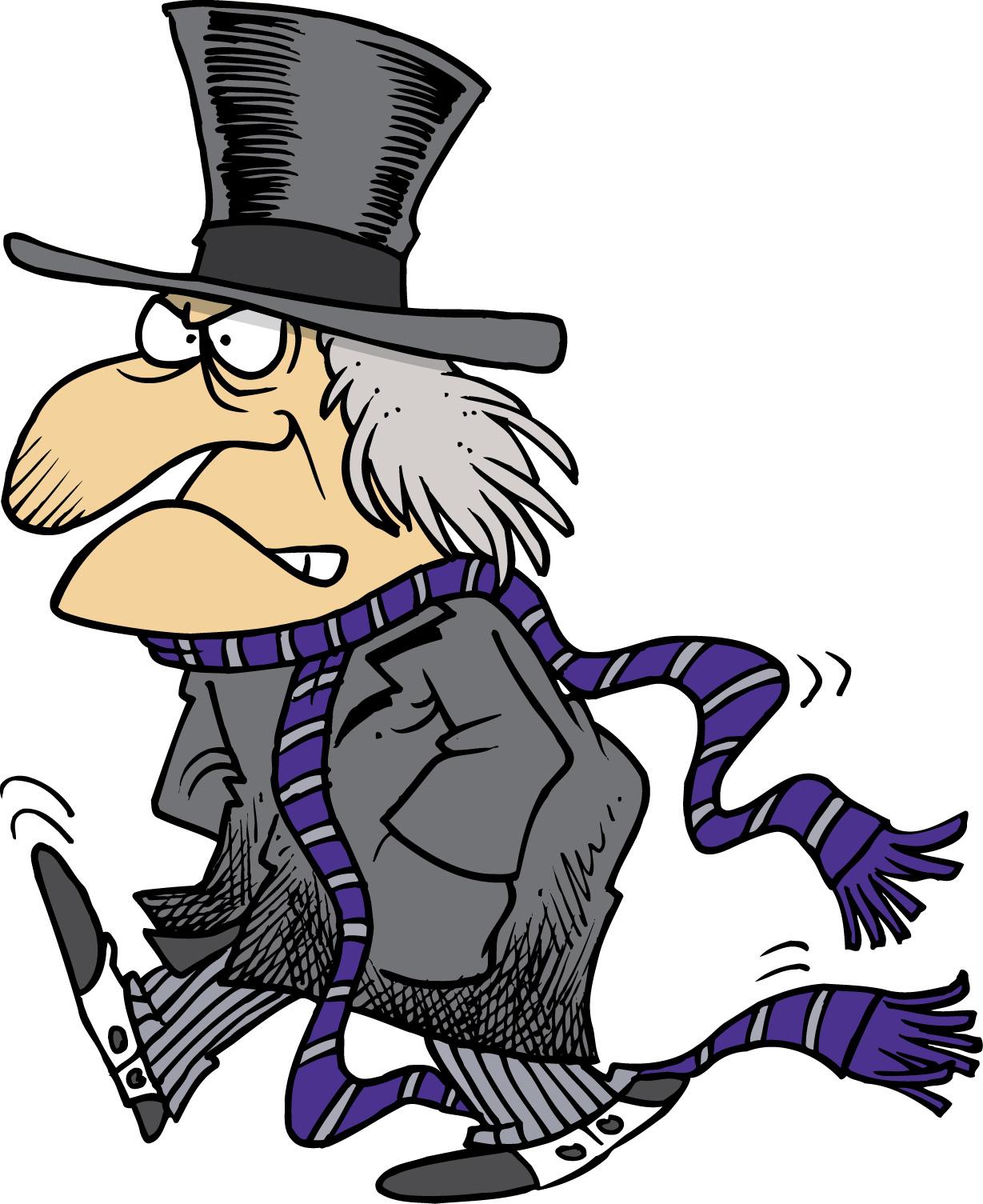 Scrooge arrives.