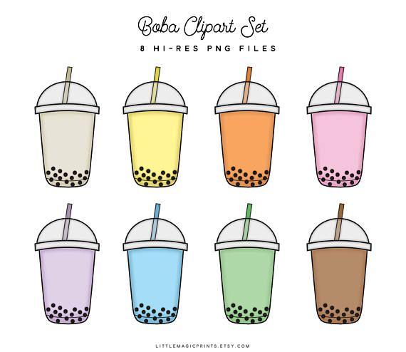Boba Bubble Tea Clipart Set, Planner Sticker Clipart, Rainbow Kawaii.