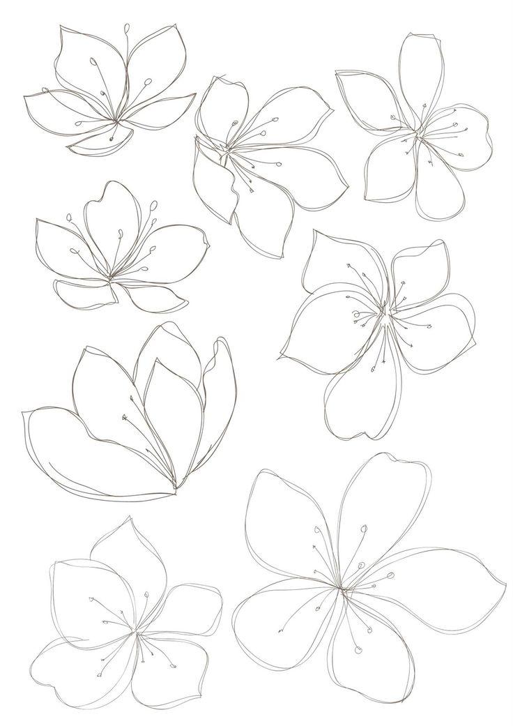 Bobbie print: Floral drawings.