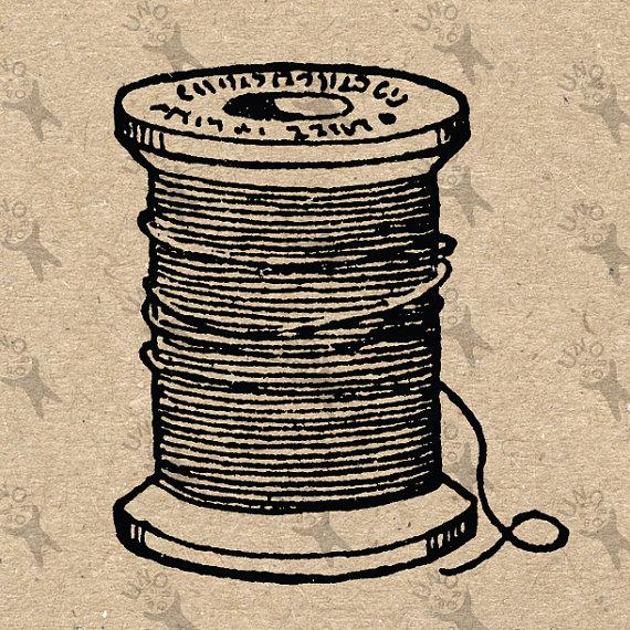 Antique image retro drawing Yarn Thread Bobbin Instant by UnoPrint.
