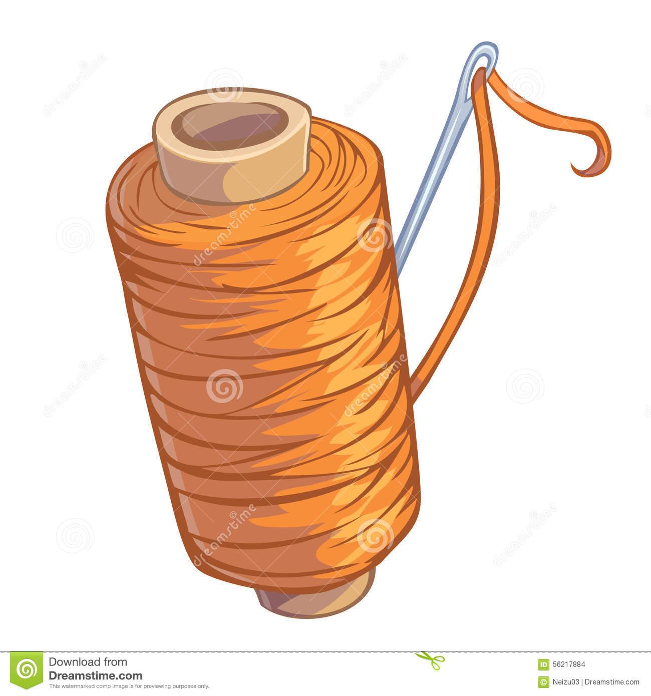 Bobbin Of Orange Thread With Needle Stock Illustration.