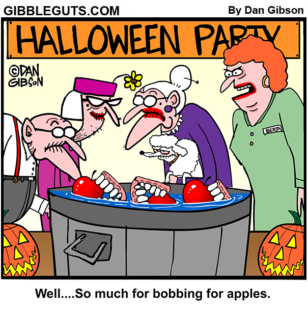 Old people bobbing for apples cartoon.