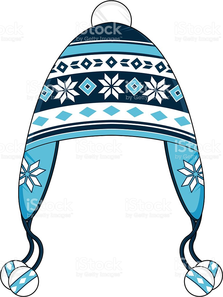 Blue Striped Wooly Bobble Hat stock vector art 483628861.