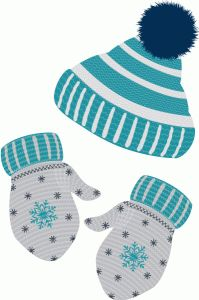 WINTER HAT AND MITTENS CLIP ART.