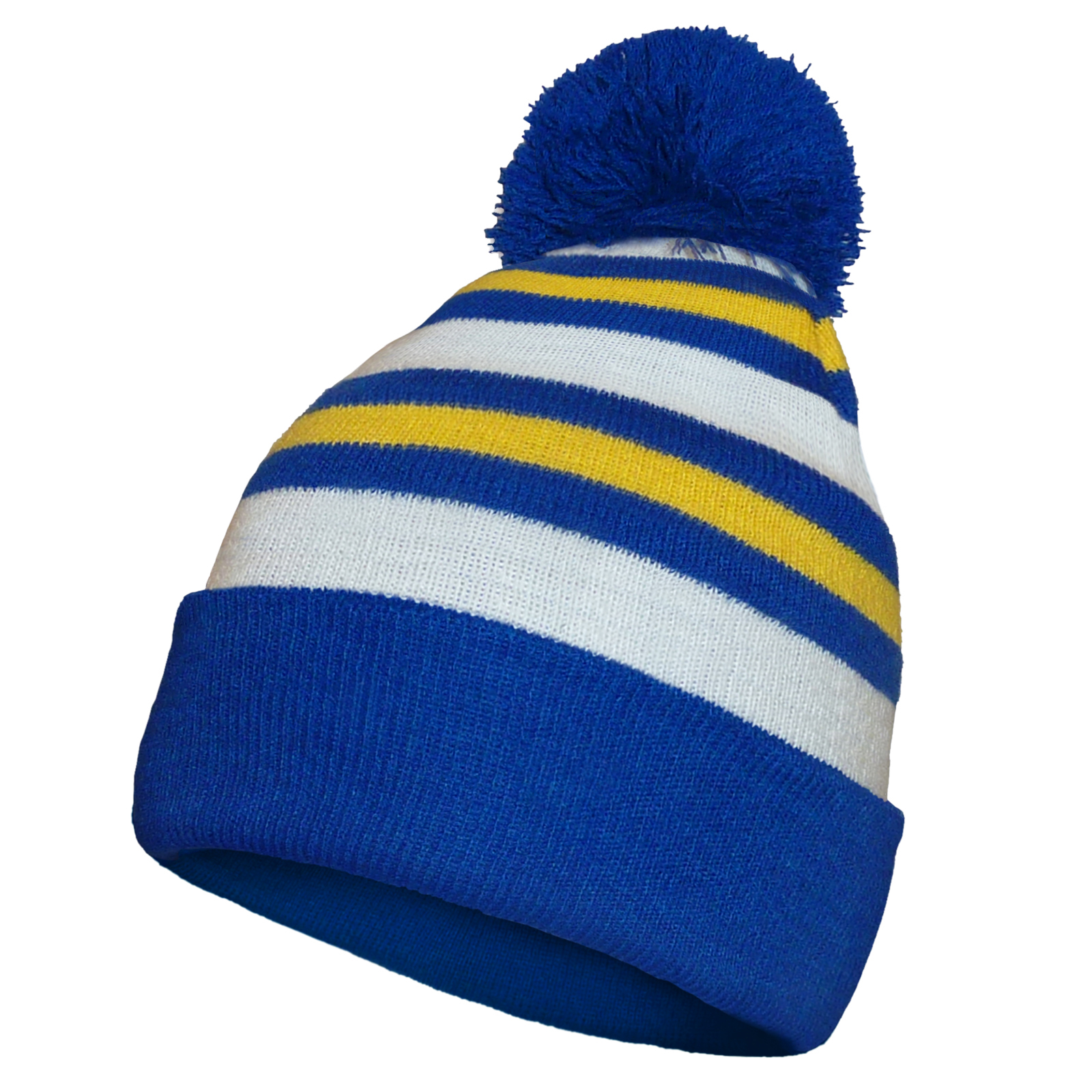 Leeds United Home Colours Retro Knitted Beanie Bobble Hat Gift.