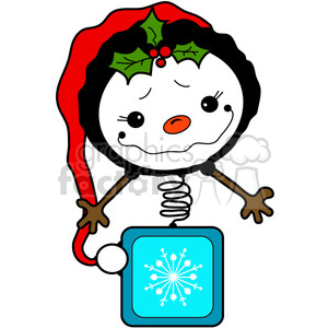 Snowman Bobblehead in color clipart. Royalty.