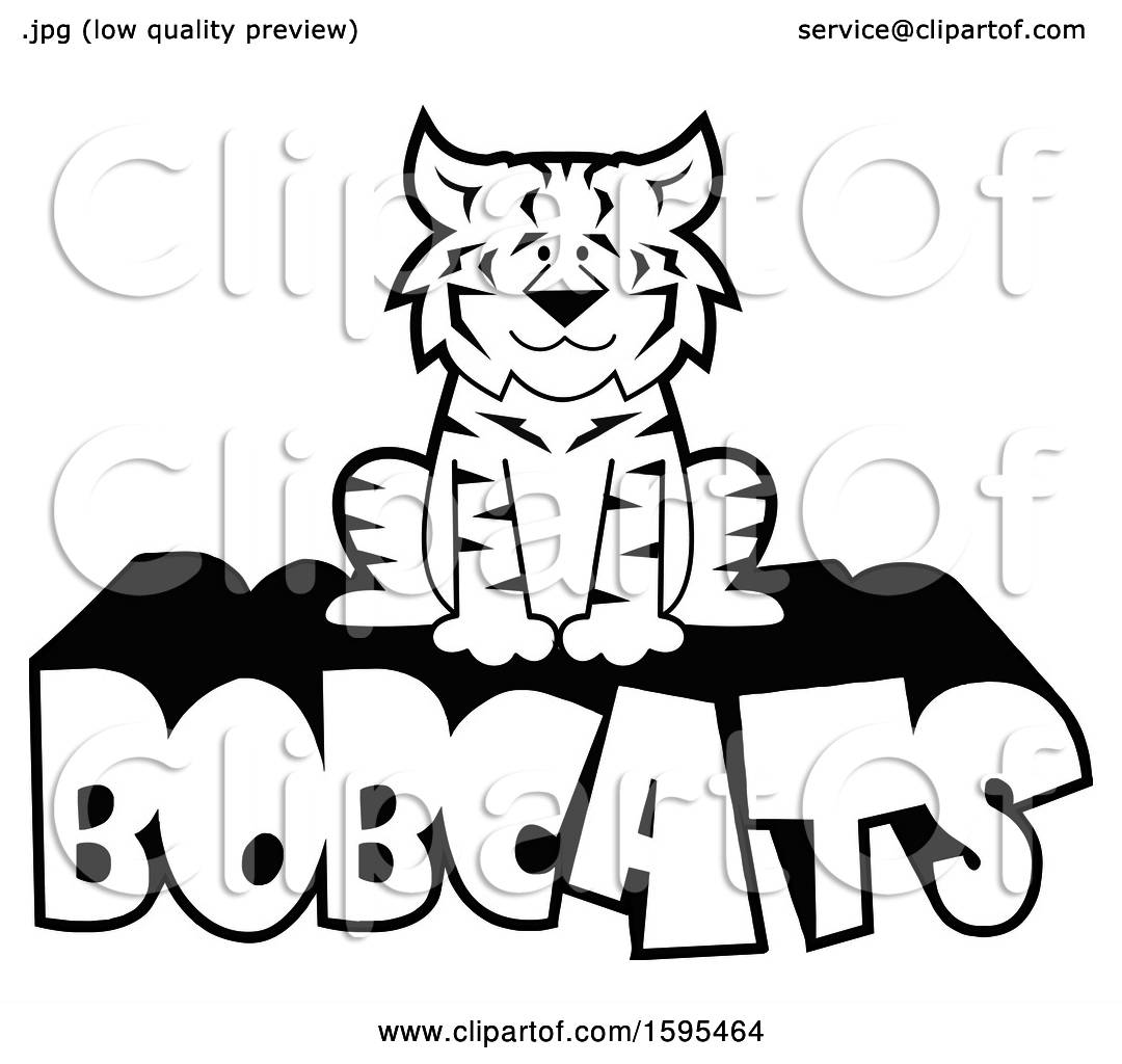 Clipart of a Cartoon Black and White Bobcat School Sports Mascot.