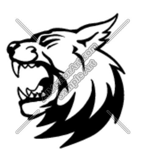 Bobcat Head Black and White Graphic Clipart and Vectorart: Sports.