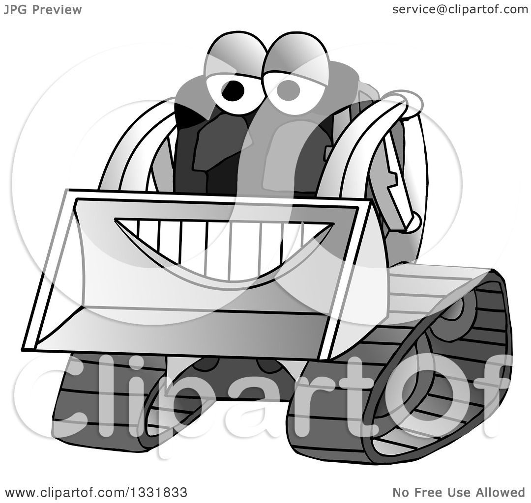 Clipart of a Grayscale Happy Smiling Bobcat Machine Character.