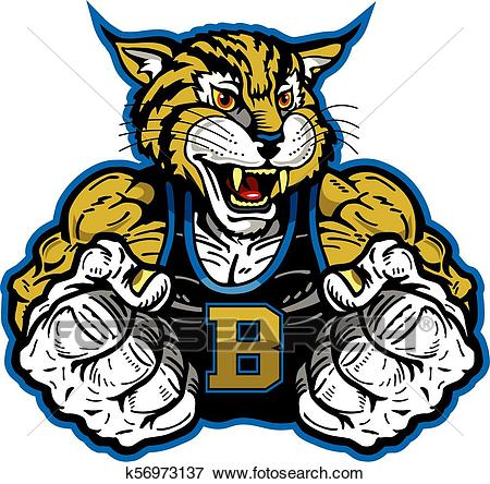 Bobcat mascot Clip Art.