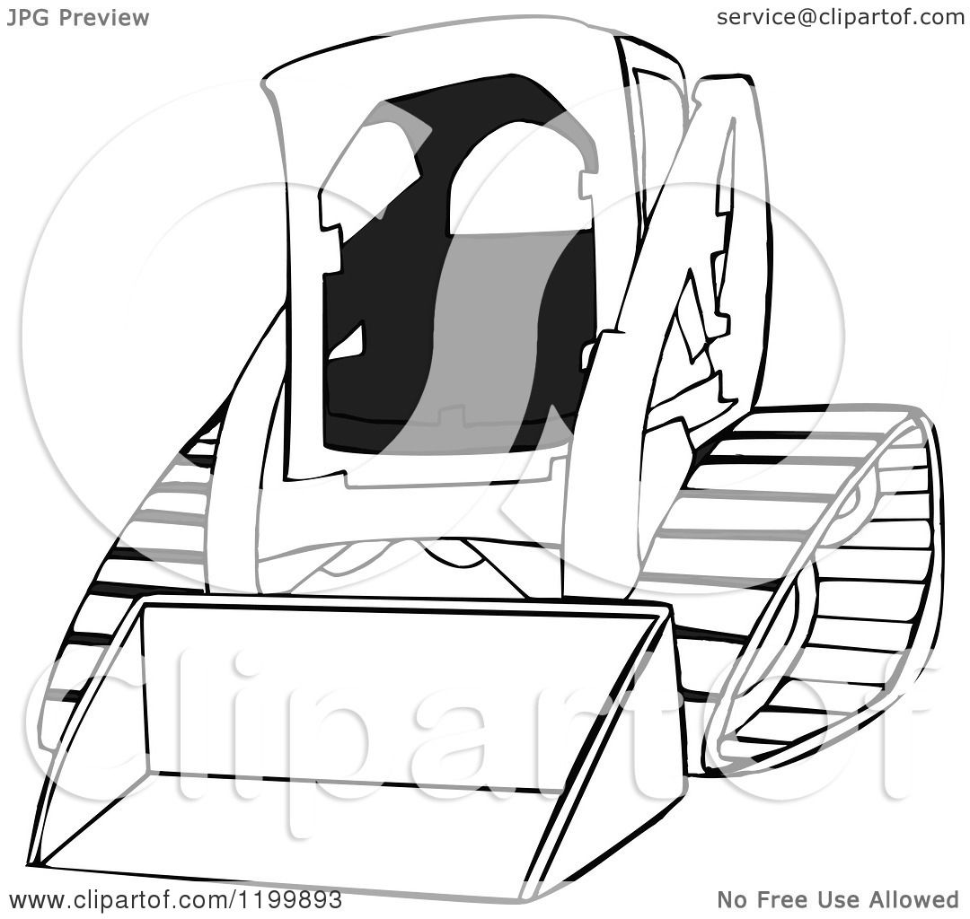Cartoon of an Outlined Bobcat Skid Steer Loader.