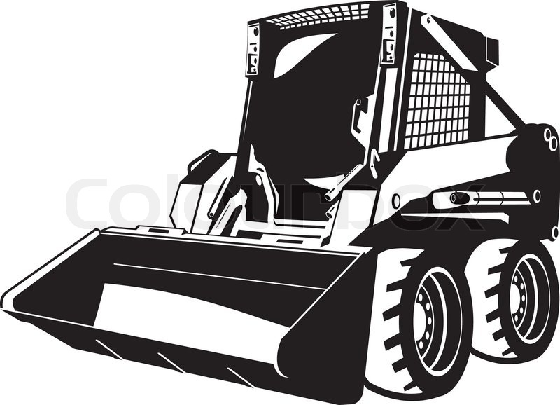 A small skid loader. black and white.