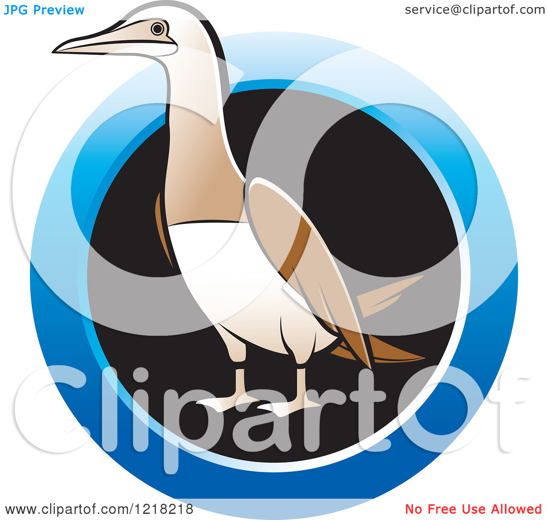 Clipart of a Bobo Booby Bird with a Blue Ring.