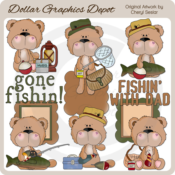 BoBo Bear Goes Fishing Clip Art.