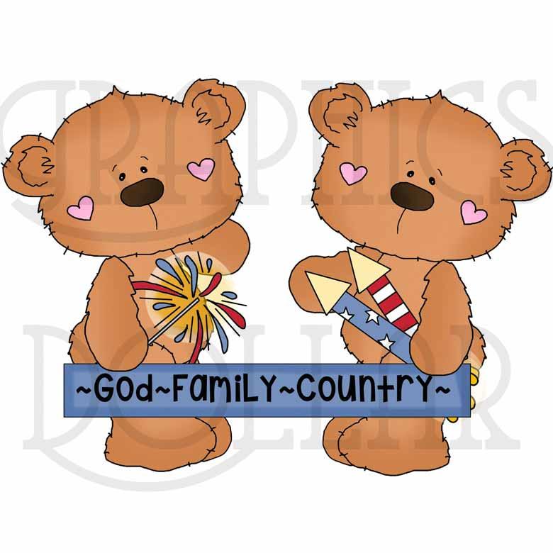 Bobo Bear America's Birthday Exclusive Clip Art.